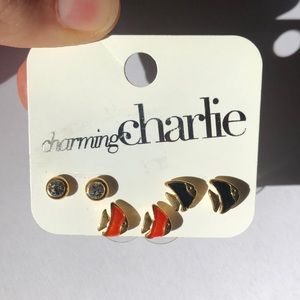 Charming Charlie Fish and Stud Back Earrings